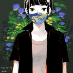 1girl black_hair black_shirt collared_shirt dated flower grey_shirt highres leaf mask mouth_mask original print_mask procreate_(medium) purple_flower shirt short_hair short_sleeves signature solo tomidoron upper_body yellow_flower