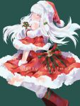 1girl alternate_costume bow christmas closed_mouth dress english_text fire_emblem fire_emblem:_three_houses full_body fur_collar fur_cuffs fur_trim green_background hands_on_own_knees hat highres jumping looking_at_viewer lysithea_von_ordelia pink_eyes red_dress santa_costume santa_hat shoulders simekirillust simple_background white_hair