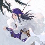 1girl ainu ainu_clothes arrow_(projectile) artist_name asirpa bandana belt black_hair blizzard blue_bandana blue_eyes bow_(weapon) cape chinese_commentary closed_mouth commentary_request dated ear_piercing earrings eye_contact from_side fur_cape golden_kamuy highres hoop_earrings jewelry lips long_hair long_sleeves looking_at_another mitus piercing quiver retar shirt sidelocks signature simple_background smile snow weapon white_cape white_shirt white_wolf wolf
