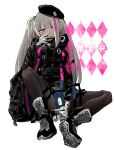 1girl backpack bag bangs beret blue_eyes cellphone commentary_request covering_mouth flip_phone girls_frontline gloves hat heterochromia highres jacket long_hair looking_at_viewer mdr_(girls_frontline) mishima_hiroji multicolored_hair one_side_up pantyhose phone pink_eyes pink_hair shoes silver_hair sitting smile sneakers solo streaked_hair v white_background