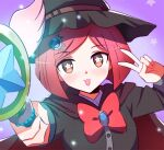 1girl :3 black_headwear black_shirt bob_cut cape commentary danganronpa_(series) danganronpa_v3:_killing_harmony dot_nose eyebrows_visible_through_hair face hair_ornament hairclip hat holding holding_staff jewelry looking_at_viewer qosic red_cape red_eyes red_ribbon redhead ribbon shirt short_hair simple_background solo staff star_(symbol) tongue tongue_out v white_wings wings witch_hat yumeno_himiko
