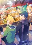 2boys 5girls aqua_hair bangs banner blonde_hair blue_coat blush_stickers bottle bow brown_coat chikuwa chopsticks coat commentary daikon everyone food from_above green_coat hair_bow hair_ornament hairclip hatsune_miku holding holding_bottle holding_chopsticks kagamine_len kagamine_rin kaito konnyaku_(food) long_hair looking_at_viewer meal megurine_luka meiko multiple_boys multiple_girls nail_polish night noodles octopus open_mouth out_of_frame pink_hair plate purple_scarf red_nails rin_no_youchuu sake_bottle sausage scarf shirt short_ponytail sinaooo sitting smile snowflakes solid_oval_eyes spiky_hair swept_bangs tofu twintails v-shaped_eyebrows very_long_hair vocaloid white_bow white_shirt