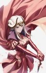 1girl armor axe breasts cape closed_mouth crown edelgard_von_hresvelg fire_emblem fire_emblem:_three_houses gloves hair_ornament highres horns jewelry long_hair long_sleeves looking_at_viewer red_cape s2i_sy7 simple_background solo weapon white_hair