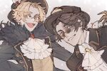 2boys :d blonde_hair blue_eyes brown_eyes brown_hair burn_scar coat colored_eyelashes cravat freckles frills fur-trimmed_coat fur_trim glasses grey_background hat identity_v looking_at_viewer male_focus mike_morton monocle mr._mole_(identity_v) mr._swifts_(identity_v) multiple_boys norton_campbell official_alternate_costume open_mouth scar short_hair simple_background smile star-shaped_pupils star_(symbol) symbol-shaped_pupils wonakira