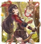 >:) 1girl :d amber_(genshin_impact) animal_ears bag baron_bunny belt blush bow_(weapon) breasts day edy_setiawan_wijaya eyelashes fang forest fur_trim genshin_impact gloves grass hair_between_eyes hair_ribbon highres holding holding_bow_(weapon) holding_weapon hood hoodie long_hair long_sleeves nature o_o open_mouth petals rabbit_ears red_ribbon ribbon shorts sideboob smile tree weapon yellow_eyes