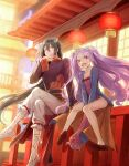 1boy 1girl black_hair chinese_clothes fate/grand_order fate_(series) flat_chest lantern looking_at_viewer mj_(11220318) ponytail purple_hair red_eyes red_footwear sitting twintails white_footwear wu_zetian_(fate/grand_order) yan_qing_(fate/grand_order)