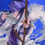 1girl aiming_at_viewer ainu ainu_clothes arrow_(projectile) artist_name asirpa bandana black_hair blue_background blue_bandana blue_eyes bow_(weapon) cape chinese_commentary closed_mouth commentary_request dated ear_piercing earrings fur_cape golden_kamuy highres holding holding_bow_(weapon) holding_weapon hoop_earrings jewelry lips long_hair long_sleeves looking_at_viewer mitus piercing sidelocks signature simple_background solo sparkle upper_body weapon white_cape wide_sleeves wind