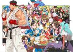 ? amaterasu anita_(vampire) ayasato_mayoi bulleta cammy_white capcom carlos_oliveira carrying character_request chun-li dante_(devil_may_cry) date_masamune_(sengoku_basara) devil_may_cry dumpling elena_(street_fighter) felicia_(vampire) felyne final_fight food food_in_mouth gyakuten_saiban hamburger ibuki_(street_fighter) ichimonji_batsu jill_valentine kagami_kyousuke kasugano_sakura ken_masters lei_lei lilith_aensland looking_at_viewer looking_to_the_side makoto_(street_fighter) mitsurugi_reiji monster_hunter morrigan_aensland multiple_boys multiple_girls naruhodou_ryuuichi nemesis nishimura_kinu official_art oichi_(sengoku_basara) ookami_(game) outdoors poison_(final_fight) rainbow_mika resident_evil rival_schools rockman rockman_(character) roll_(rockman) ryu_(street_fighter) sanada_yukimura_(sengoku_basara) sengoku_basara shoulder_carry sipping sitting smile street_fighter sweat taiyaki thighs trish_(devil_may_cry) vampire_(game) vergil wagashi wakaba_hinata