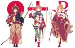 3girls akagi_(kantai_collection) alternate_costume aquila_(kantai_collection) ark_royal_(kantai_collection) arrow_(projectile) bitchcraft123 blue_eyes blush bow_(weapon) brown_eyes brown_hair closed_mouth full_body gloves hair_between_eyes hair_ornament hairband hairclip high_ponytail highres kantai_collection long_hair long_sleeves multiple_girls open_mouth orange_hair redhead sheath sheathed shield short_hair smile tiara weapon white_background white_gloves yumi_(bow)