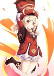 1girl adda ahoge arms_up bangs beret blonde_hair bloomers boots bow brown_footwear brown_gloves closed_mouth commentary_request dress eyebrows_visible_through_hair full_body genshin_impact gloves hat highres klee_(genshin_impact) knees_together_feet_apart long_hair looking_at_viewer pointy_ears red_dress red_eyes red_headwear smile solo twintails underwear white_bow