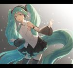 1girl absurdly_long_hair aqua_eyes aqua_hair aqua_neckwear bare_shoulders black_legwear black_skirt black_sleeves commentary contrapposto cowboy_shot detached_sleeves gradient gradient_background hair_ornament hatsune_miku hatsune_miku_(nt) headphones layered_sleeves leaning_forward long_hair looking_at_viewer miniskirt neck_ribbon open_mouth outstretched_arms piapro pleated_skirt ribbon see-through_sleeves shiohari_kanna shirt shoulder_tattoo sidelighting skirt sleeveless sleeveless_shirt smile solo sparkle tattoo thigh-highs twintails very_long_hair vocaloid white_shirt white_sleeves zettai_ryouiki