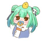 1girl :d animal animal_on_head baby_bottle bangs bird bird_on_head blue_bow blue_ribbon blue_shirt blush blush_stickers bottle bow chibi commentary_request cropped_torso double_bun dress eyebrows_visible_through_hair full_body green_hair hair_between_eyes hair_ornament hair_ribbon holding holding_bottle hololive looking_at_viewer milk nekoyama official_alternate_costume on_head open_mouth pacifier raised_eyebrows red_bow red_eyes ribbon shirt simple_background skull_hair_ornament smile solo spiral_eyes toddler upper_body uruha_rushia virtual_youtuber white_background younger
