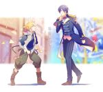 2boys band_uniform belt blonde_hair blue_eyes blue_hair blue_jacket blue_pants blue_shirt blurry blurry_background boots commentary epaulettes green_pants hand_on_own_chin headphones jacket kagamine_len kaito looking_at_another male_focus multiple_boys pants project_sekai shirt short_ponytail sinaooo spiky_hair translated uniform vest vocaloid walking