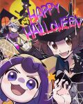 2boys 3girls acerola_(pokemon) agatha_(pokemon) bandages black_dress black_footwear black_gloves black_headwear black_sweater broom broom_riding brown_eyes brown_hair claw_pose closed_mouth commentary dress glasses gloves halloween happy_halloween hat headband highres hilbert_(pokemon) hood hood_up looking_at_viewer morty_(pokemon) multiple_boys multiple_girls open_mouth pantyhose pokemon pokemon_(game) pokemon_hgss pokemon_masters_ex purple_hair purple_headband purple_scarf ribbed_sweater scarf shauntal_(pokemon) smile star_(symbol) sweater teeth tongue violet_eyes watta02614129 witch_hat