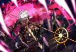 1boy armor blood blue_eyes colored_skin earrings eyeshadow fate/grand_order fate_(series) fingernails full_body gem highres holding holding_weapon jewelry karna_(fate) leaning_forward makeup male_focus multicolored multicolored_skin ono_matope open_mouth pale_skin polearm red_eyeshadow sharp_fingernails spear two-tone_skin weapon white_hair