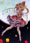 1girl between_legs blonde_hair bloomers blush bobby_socks bouquet commentary_request eyebrows_visible_through_hair flandre_scarlet floating flower full_body full_moon hair_between_eyes hand_between_legs hat hat_ribbon head_tilt holding holding_bouquet looking_at_viewer mary_janes mob_cap moon nekosugi_(hoshi) one_side_up open_mouth outdoors partial_commentary petals petticoat puffy_short_sleeves puffy_sleeves red_eyes red_footwear red_skirt red_vest ribbon shirt shoes short_hair short_sleeves skirt socks solo touhou underwear vest white_headwear white_legwear white_shirt wings wrist_cuffs