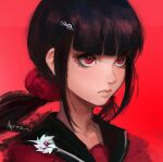 1girl bangs black_hair blunt_bangs closed_mouth commentary danganronpa_(series) danganronpa_v3:_killing_harmony english_commentary face hair_ornament hair_over_shoulder hairclip harukawa_maki long_hair low_twintails mole mole_under_eye pin qosic red_background red_eyes red_scrunchie red_shirt sailor_collar school_uniform scrunchie serafuku shirt simple_background solo twintails upper_body