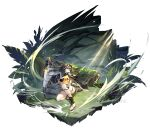 arknights axe bandeau black_hair blue_eyes breasts dress eunectes_(arknights) flower gloves goggles goggles_on_head grass hair_flower hair_ornament highres holding holding_shield holding_weapon log microdress moss one_knee open_toe_shoes plant pointy_ears reverse_grip see-through shield short_hair snake_tail strapless tail thigh_strap thighs toes torn_clothes torn_legwear tubetop weapon white_background yellow_dress yu_jiu
