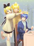 1girl 2boys aqua_eyes bangs black_bow blonde_hair blue_coat blue_eyes blue_hair bow cake cellphone chair coat commentary crown cup dress food fork galette_des_rois_(food) hair_bow hair_ornament hairclip holding holding_fork kagamine_len kagamine_rin kaito kikuchi_mataha kneehighs leg_up multiple_boys phone plate putting_on_headwear shirt short_hair sitting slippers smartphone smile sparkle spiky_hair star_(symbol) striped_wall swept_bangs table taking_picture vocaloid white_dress white_shirt yellow_shirt