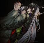 2boys ashiya_douman_(fate) asymmetrical_hair bell black_eyes black_hair blood blood_from_mouth blood_on_face clone curly_hair dark_persona earrings evil_smile fate/grand_order fate_(series) fingernails from_behind green_eyeshadow green_kimono green_lipstick green_nails hair_bell hair_between_eyes hair_intakes hair_ornament highres holding_hands interlocked_fingers japanese_clothes jewelry kimono lipstick long_hair magatama magatama_earrings makeup male_focus multicolored_hair multiple_boys sharp_fingernails smile two-tone_hair upper_body very_long_fingernails very_long_hair white_hair yokaranu_yuuna
