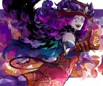 1boy ass aves_plumbum9 bare_pecs bare_shoulders blue_eyes blue_lipstick bright_pupils cape colored_skin curly_hair demon_boy demon_horns demon_tail fate/grand_order fate_(series) forked_eyebrows fur-trimmed_cape fur_collar fur_trim gloves headpiece horns laughing lipstick makeup male_focus medium_hair mephistopheles_(fate/grand_order) pectorals pointing pointing_at_viewer purple_hair red_gloves shirt solo tail teardrop tight_shirt toned toned_male unzipped violet_eyes white_skin