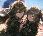 2girls bangs black_gloves black_jacket black_scarf blurry blurry_background blush brown_hair closed_mouth commentary_request fingerless_gloves girls_frontline gloves grey_hair hair_between_eyes hair_tie highres jacket long_hair long_sleeves multiple_girls one_side_up parted_lips scarf sidelocks silence_girl smile star-shaped_pupils star_(symbol) symbol-shaped_pupils tears ump40_(girls_frontline) ump45_(girls_frontline) upper_body yellow_eyes