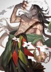 1boy abs ashiya_douman_(fate) asymmetrical_hair bangs bell black_eyes black_hair earrings exposed_muscle fate/grand_order fate_(series) fingernails highres holding japanese_clothes jewelry lack looking_at_viewer magatama magatama_earrings male_focus multicolored_hair muscular sharp_fingernails shikigami shirtless shoulder_sash smirk two-tone_hair upper_body white_background white_hair