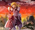 1girl armor armored_dress blonde_hair blood breastplate clarent clouds cloudy_sky dragon fate/apocrypha fate_(series) floating_hair flying gauntlets green_eyes holding holding_sword holding_weapon mordred_(fate) mordred_(fate)_(all) open_mouth outdoors pauldrons ponytail ruins shoulder_armor sky smoke standing sunset sword weapon yado