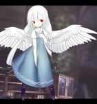 1girl akira_(meltyhip) albino bird_wings blue_dress blush boots braid closed_mouth colored_skin dress hand_on_own_chest highres letterboxed long_hair looking_at_viewer original pigeon-toed purple_footwear red_eyes short_sleeves smile solo spread_wings standing twin_braids very_long_hair white_hair white_skin white_wings wings