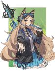 1girl animal_ears arknights bangs black_bow black_coat blue_eyes blue_nails blue_skirt blush bow breasts cat_ears closed_mouth coat commentary cowboy_shot drill_hair english_commentary eyebrows_visible_through_hair fan flower folding_fan frilled_skirt frills hair_bow hair_flower hair_ornament highres holding holding_fan iris_(arknights) light_brown_hair long_hair long_sleeves looking_at_viewer nail_polish outside_border outstretched_hand parted_bangs shirt side_drill skirt small_breasts solo staff twin_drills weapon weapon_on_back white_shirt yurooe