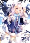 1girl :d beryl_(blueberylpie) blue_bow blue_dress blue_eyes blue_nails blue_neckwear blurry blurry_background blush boots bow bowtie breasts center_frills dress dutch_angle frills gawr_gura hair_ornament highres hololive hololive_english long_hair looking_afar open_mouth sharp_teeth signature silver_hair small_breasts smile snowflake_print snowflakes snowing solo standing star_(symbol) star_hair_ornament teeth thigh-highs twitter_username two_side_up virtual_youtuber waving white_legwear