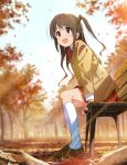1girl :d arm_support autumn autumn_leaves bench blurry blurry_background blush bow bowtie brown_eyes brown_footwear brown_hair brown_jacket clouds cloudy_sky day eyebrows_visible_through_hair falling_leaves from_below furuyama_itaru half_updo highres idolmaster idolmaster_cinderella_girls jacket kneehighs leaf light_rays loafers long_hair looking_away one_side_up open_mouth outdoors red_neckwear red_skirt school_uniform shimamura_uzuki shoes skirt sky smile solo white_legwear wooden_bench