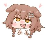 1girl :3 :d ahegao animal_ear_fluff animal_ears bangs blush blush_stickers bone_hair_ornament braid bright_pupils brown_hair chibi commentary_request double_v eyebrows_visible_through_hair fangs hair_between_eyes hair_ornament hairclip half-closed_eyes head heart heart-shaped_pupils hololive inugami_korone long_hair looking_at_viewer nekoyama nose_blush open_mouth simple_background smile solo symbol-shaped_pupils twin_braids v virtual_youtuber white_background white_pupils yellow_eyes