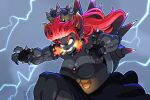 aaron_schmit biceps black_skin bowsette bracelet breathing_fire colored_skin crown dress fingerless_gloves fingernails fire gloves glowing glowing_eyes horns jewelry mario_(series) mega_fury_bowser muscular muscular_female pointy_ears redhead sharp_fingernails smile spiked_armlet spiked_bracelet spiked_shell spikes super_mario_3d_world