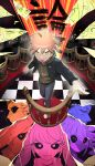 1boy ahoge artist_name asahina_aoi bangs black_jacket black_pants black_sclera brown_eyes celestia_ludenberg checkered checkered_background checkered_floor colored_sclera commentary danganronpa:_trigger_happy_havoc danganronpa_(series) enoshima_junko fujisaki_chihiro fukawa_touko green_eyes green_hoodie grin hagakure_yasuhiro hand_up highres hood hoodie ikusaba_mukuro ishimaru_kiyotaka jacket kirigiri_kyouko kuwata_leon long_sleeves looking_at_viewer maizono_sayaka naegi_makoto oogami_sakura oowada_mondo pants pink_eyes qosic shoes short_hair smile solo_focus spoilers standing togami_byakuya upper_teeth yamada_hifumi yellow_eyes