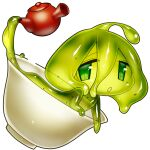 1girl akira_(meltyhip) colored_sclera colored_skin completely_nude cup green_eyes green_hair green_sclera green_skin hair_between_eyes in_container in_cup looking_at_viewer medium_hair minigirl monster_girl nude original parted_lips slime_girl solo spilling tareme teapot transparent_background
