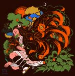 1girl absurdly_long_hair bamboo bit_gag black_hair black_haori checkered_obi crescent_moon dated floating_hair flower gag hair_flower hair_ornament hair_ribbon haori highres japanese_clothes kamado_nezuko kimetsu_no_yaiba kimono leaf long_hair long_sleeves moon multicolored_hair obi pink_kimono pink_ribbon procreate_(medium) red_eyes red_flower redhead ribbon sandals sash signature socks solo tomidoron two-tone_hair very_long_hair white_legwear