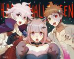 1girl 2boys :o ahoge alternate_costume animal_ears artist_name bandages bangs bare_shoulders bat_hair_ornament bell black_choker black_gloves brown_hair cape choker collarbone commentary cosplay danganronpa_(series) danganronpa_2:_goodbye_despair eyebrows_visible_through_hair fang fangs frankenstein's_monster frankenstein's_monster_(cosplay) gloves grey_shirt hair_ornament halloween halloween_costume happy_halloween hinata_hajime komaeda_nagito long_sleeves looking_at_viewer medium_hair multiple_boys nanami_chiaki open_clothes open_mouth open_shirt pink_blood pink_eyes pointy_ears purple_cape qosic shirt short_hair sketch upper_body v-shaped_eyebrows vampire vampire_costume wolf_ears wolf_paws