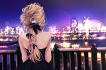 1girl bare_shoulders black_dress blonde_hair braid cityscape dress facing_away from_behind hair_ribbon highres lens_flare long_hair night night_sky original outdoors purple_ribbon railing reflection ribbon river sasahara_wakaba single_braid sky solo symbol_commentary upper_body