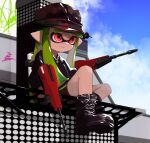 1girl bangs bike_shorts black_footwear black_jacket black_shorts blue_sky blunt_bangs boots closed_mouth clouds cloudy_sky commentary cross-laced_footwear day domino_mask dual_wielding dualie_squelcher_(splatoon) english_commentary english_text graffiti green_hair hat highres holding ink_tank_(splatoon) inkling jacket lace-up_boots long_hair long_sleeves looking_to_the_side mask mhxbump milestone_celebration outdoors pointy_ears red_eyes red_headwear shorts single_vertical_stripe sitting sky smile solo splatoon_(series) splatoon_2 tentacle_hair