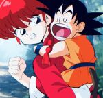 1boy 1girl angry black_hair blue_eyes blue_wristband closed_eyes dragon_ball forest orange_outfit piggyback pigtails ranma-chan ranma_1/2 ranma_saotome red_dress redhead sleeping snoring son_gokuu spiky_hair tail
