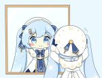 1girl adjusting_clothes adjusting_headwear beret blue_bow blue_tabard blush_stickers bow capelet chibi clock_print commentary dress fur-trimmed_capelet fur_trim gold_trim hair_ornament hat hat_bow hatsune_miku light_blue_eyes light_blue_hair long_hair mirror musical_note_hair_ornament nukotun reflection roman_numeral smile snowflake_print solo tabard treble_clef twintails very_long_hair vocaloid white_capelet white_dress white_headwear yuki_miku yuki_miku_(2021)