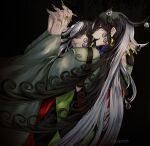 2boys ashiya_douman_(fate) asymmetrical_hair bell black_eyes black_hair clone curly_hair dark_persona earrings evil_smile fate/grand_order fate_(series) fingernails from_behind green_eyeshadow green_kimono green_lipstick green_nails hair_bell hair_between_eyes hair_intakes hair_ornament highres holding_hands interlocked_fingers japanese_clothes jewelry kimono lipstick long_hair magatama magatama_earrings makeup male_focus multicolored_hair multiple_boys sharp_fingernails smile two-tone_hair upper_body very_long_fingernails very_long_hair white_hair yokaranu_yuuna
