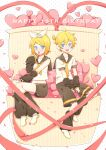1boy 1girl arm_warmers bangs bare_shoulders black_collar black_shorts black_sleeves blonde_hair blue_eyes blush bow collar commentary confetti crop_top fang full_body hair_bow hair_ornament hairclip happy_birthday headphones heart highres kagamine_len kagamine_rin leg_warmers looking_at_viewer neckerchief necktie open_mouth red_ribbon ribbon sailor_collar school_uniform shirt short_hair short_ponytail short_shorts short_sleeves shorts sitting skin_fang sleeveless sleeveless_shirt smile spiky_hair swept_bangs vocaloid white_bow white_shirt yellow_nails yellow_neckwear zimoow