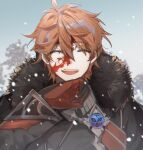 1boy arm_up black_coat blood blood_on_face closed_eyes coat commentary earrings eyebrows_visible_through_hair fur-trimmed_coat fur-trimmed_hood fur_trim genshin_impact gloves grey_sky hood jewelry kusogametaku male_focus military military_uniform open_mouth orange_hair outdoors red_gloves short_hair single_earring smile snow snowing solo symbol_commentary tartaglia_(genshin_impact) tree uniform upper_body upper_teeth vision_(genshin_impact) winter