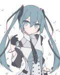 1girl aqua_eyes aqua_hair black_gloves black_neckwear bracelet commentary expressionless formal giryu gloves grey_suit hair_ornament half_gloves hand_in_hand_(vocaloid) hatsune_miku holding holding_microphone jewelry long_hair magical_mirai_(vocaloid) microphone necktie solo suit twintails twitter_username upper_body vocaloid white_background