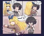 2girls :d black_hair blind blind_girl_(popopoka) blonde_hair blood blue_border blue_bow blue_eyes blue_neckwear blue_ribbon blush border bow bow_hairband brown_sweater bully_girl_(popopoka) commentary english_commentary english_text finger_in_another's_mouth flying_sweatdrops freckles grey_eyes grey_sweater hair_bow hairband highres long_hair long_sleeves medium_hair motion_blur multiple_girls neck_ribbon necktie notice_lines open_mouth original outside_border popopoka red_neckwear ribbon school_uniform smile spoken_flying_sweatdrops string sweater tooth tooth_pulling wide-eyed wide_sleeves