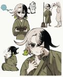 1boy ashiya_douman_(fate) asymmetrical_hair black_eyes black_hair child collage curly_hair earrings fate/grand_order fate_(series) fingernails green_kimono green_nails hair_between_eyes highres japanese_clothes jewelry kimono long_hair magatama magatama_earrings male_focus multicolored_hair o-djiko sharp_fingernails solo_focus translation_request two-tone_hair very_long_fingernails very_long_hair white_hair younger