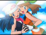 2girls :d ;d bangs beanie blue_eyes blue_hair blush bracelet brown_hair clouds commentary_request dawn_(pokemon) day eyebrows_visible_through_hair eyelashes floating_hair gloves green_bandana hat holding_hand jewelry may_(pokemon) multiple_girls official_style one_eye_closed open_mouth pink_scarf pokemon pokemon_(anime) pokemon_dppt_(anime) scarf sky smile white_headwear y@mato