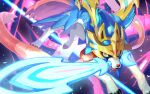 blue_fur claws commentary_request gen_8_pokemon legendary_pokemon looking_at_viewer mouth_hold no_humans pokemon pokemon_(creature) solo sword tapioka_chaso weapon yellow_eyes zacian zacian_(crowned)